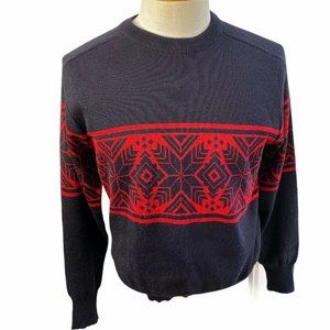 Obermeyer Wool Blend Crewneck Sweater Blue Red L